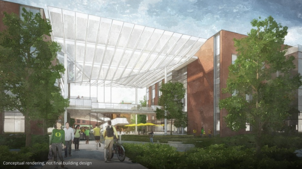 Artist rendering of proposed new science research center at UO courtesy Phil & Penny Knight
