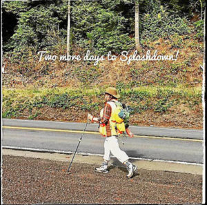 Nancy Fitzpatrick coming into Newport this week...over 3,000 miles walking in her own shoes.... Courtesy photo