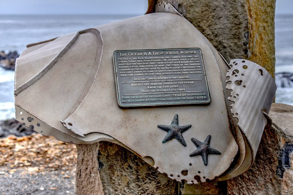 Memorial to two 18 year old males  who were swept off the rocks to their deaths at Smelt Sands in Yachats several years ago.