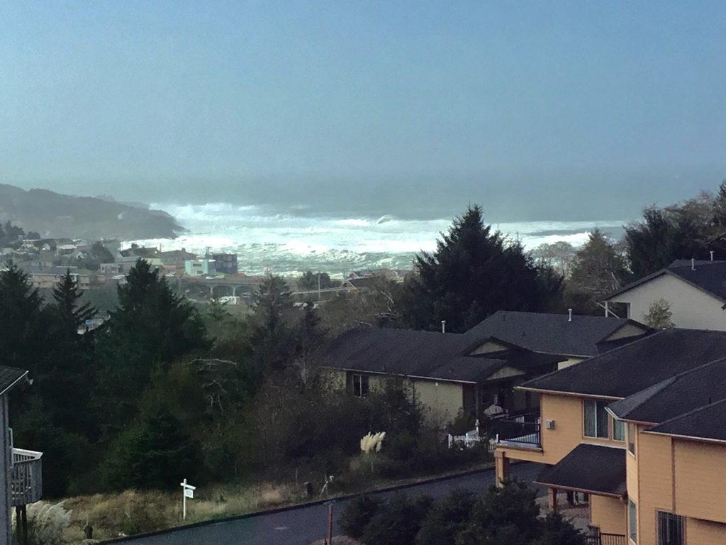 The surf looked huge even from afar... Jean Matlock overlooking Depoe Bay