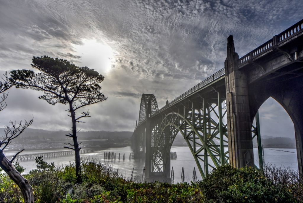 The sun not so high over the Yaquina Bay Bridge this time of year. Ken Gagne