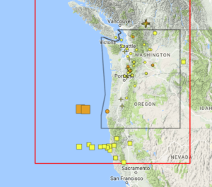 The two brown boxes are the overnight earthquakes.  The yellow boxes farther south are from last week and earlier.
