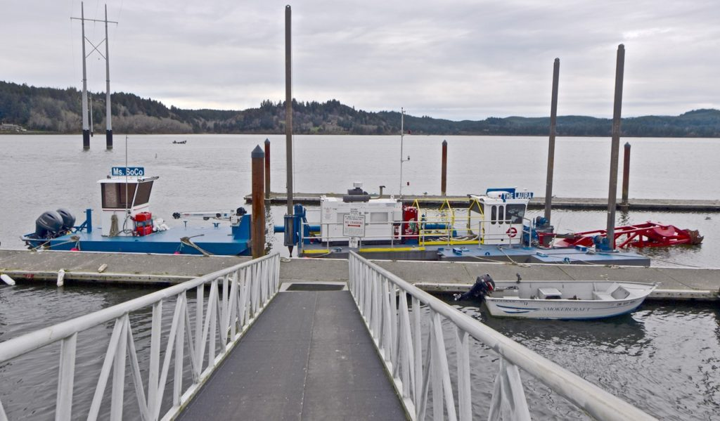 Small ports dredger has arrived at the Port of Alsea and will begin sediment removal. Ken Gagne photo