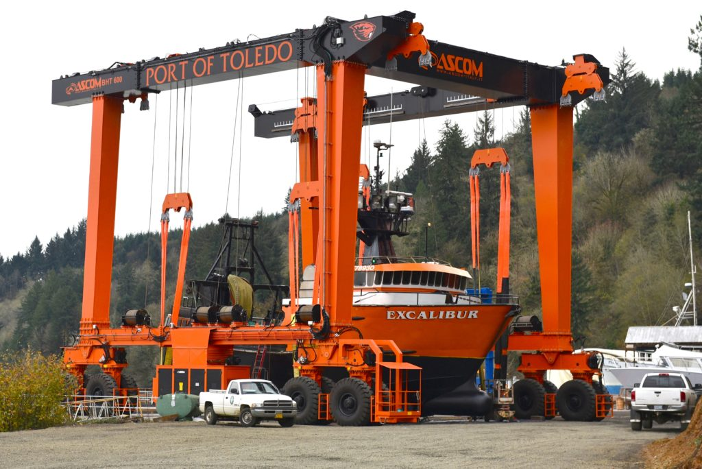 F/V Excalibur among the first vessels to be lifted from the water to be worked on in Toledo!