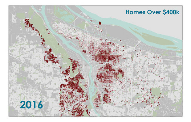 Red dots are mansions starting at $400,000...and many are anything but.