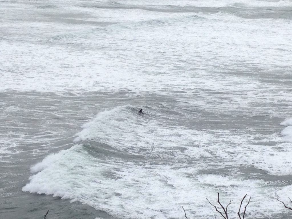 Surfing alone off Otter Crest, heavy wave activity and a 10.3 King Tide.  Nothing like making it easy for powerful hydraulics and gravity.