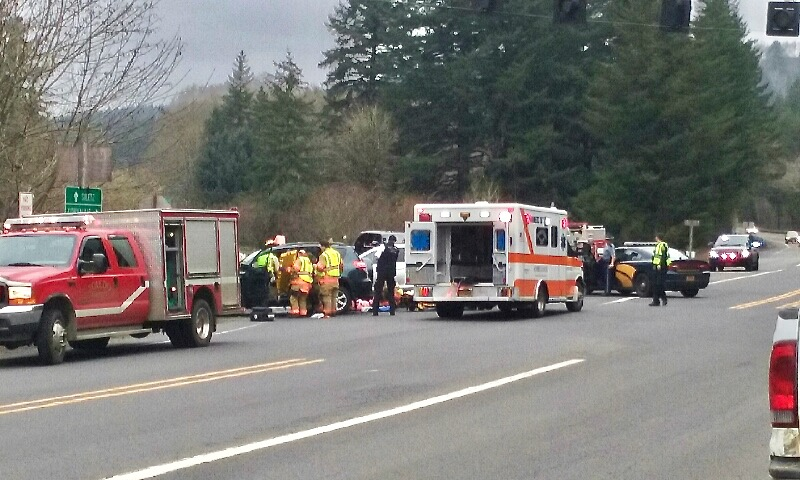 Traffic crash with injuries  at intersection of Highways 20 and 229.