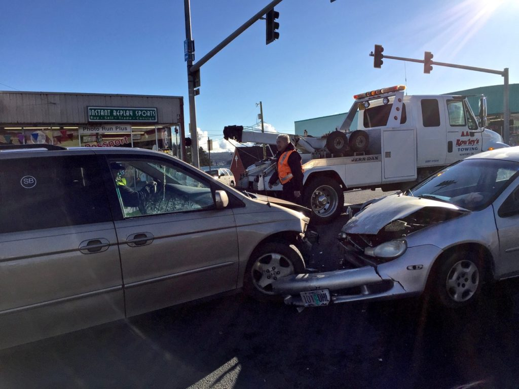 Head-on crash at 101 and Hurbert in downtown Newport.  No serious injuries. Ken Gagne photo