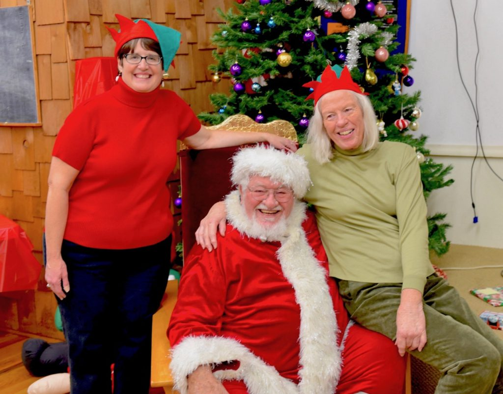 Executive Director of YYFAP Alice Rose Beck and her assistant Pamela Luderitz, and of course Santa....
