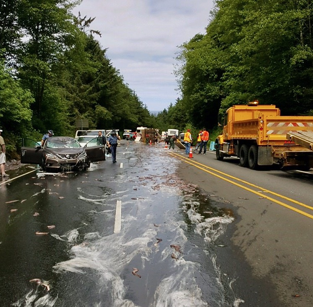 Giant Mess On Highway 101 At Milepost 131 North Of Newport